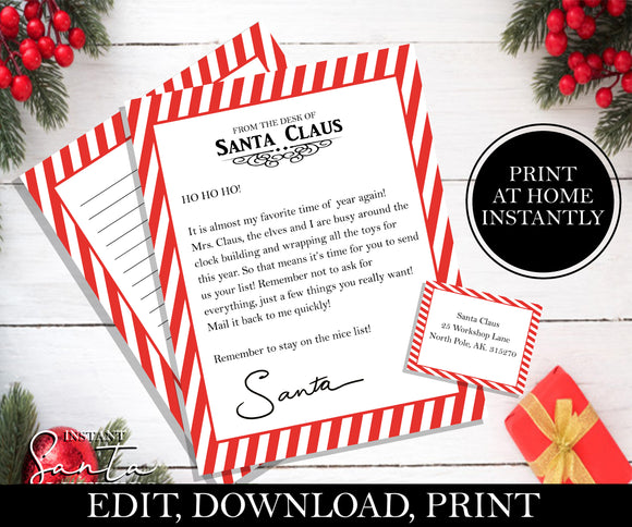 Write Christmas list for Santa, EDITABLE