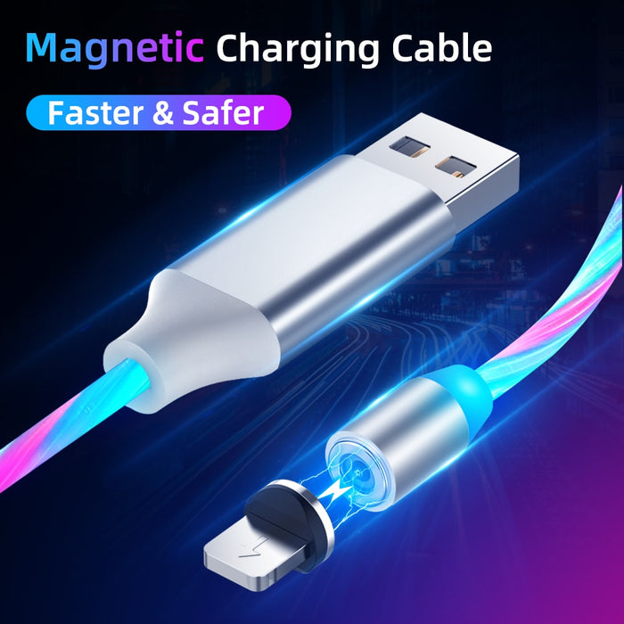Magnetic USB C Micro USB Cable For iPhone Flow Luminous Cable Fast Charging Wire Type C 8 Pin Charger Mobile Phone USB Cable