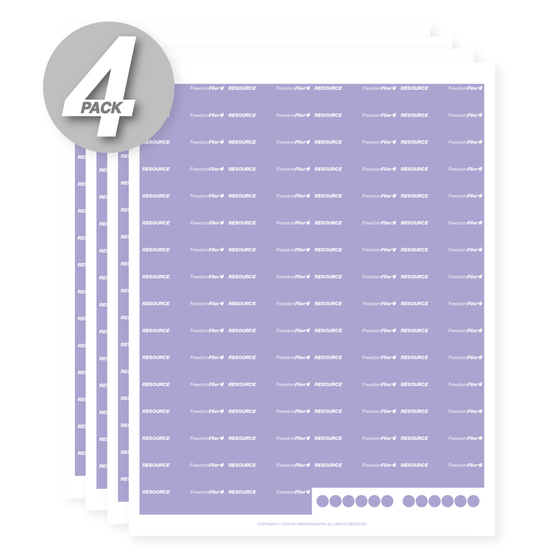 Resource 1/5 Tab Blank File Labels, 4-Pack
