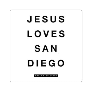 Jesus Loves San Diego - Square Stickers