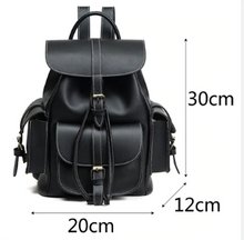 Load image into Gallery viewer, Black Leather Bookbag