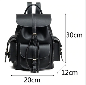 Black Leather Bookbag