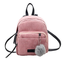 Load image into Gallery viewer, Corduroy Backpack with Pompon