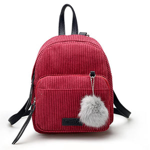 Corduroy Backpack with Pompon