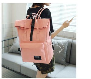 Women Satchel Travel Backpack with USB Charging Port