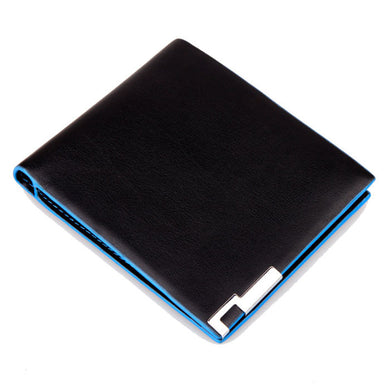 Stylish Business Leather Wallet with Blue Accents
