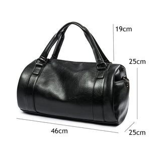 Black Leather Duffle Bag