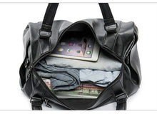 Load image into Gallery viewer, Black Leather Duffle Bag