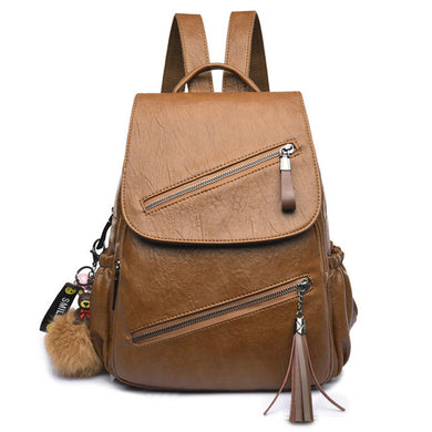 Tassel Leather Backpack