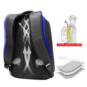 "Black Striped Multifunction Backpack (15.6"" laptop)"