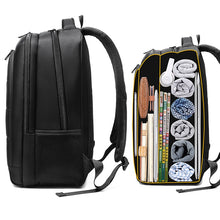 "Load image into Gallery viewer, Black Striped Multifunction Backpack (15.6"" laptop)"