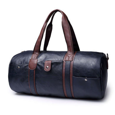 Leather Barrel Travel Bag