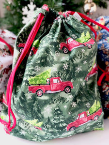 Medium Red Truck Drawstring Bag
