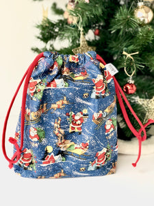 Small Santa Drawstring Bag