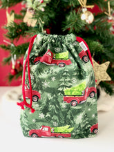Load image into Gallery viewer, Small Red Truck Drawstring Bag