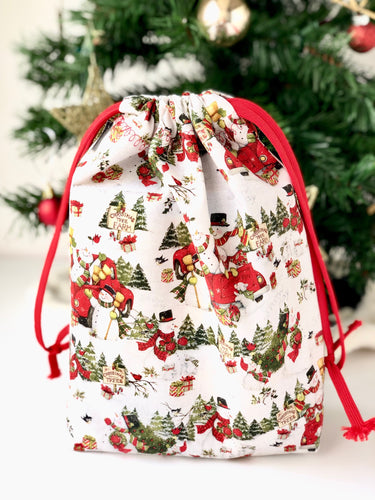 Small Snowman Drawstring Bag