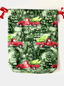 Small Red Truck Drawstring Bag