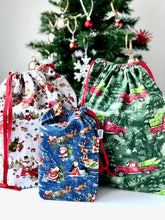 Load image into Gallery viewer, Small Santa Drawstring Bag