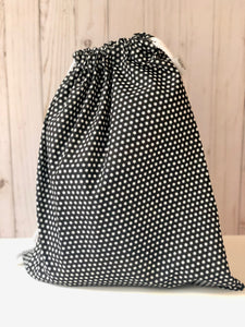 Black and White Starburst Drawstring Gift Bag