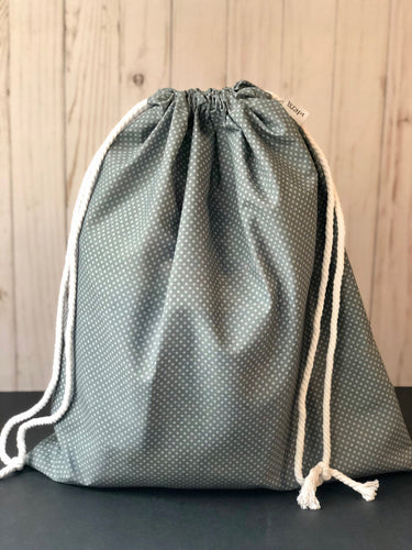 Gray Dot Drawstring Gift Bag
