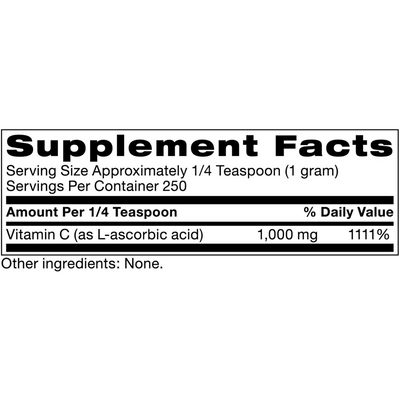 Klaire Labs Vitamin C Ultra Fine Powder - 250 g - Puro Estado Fisico