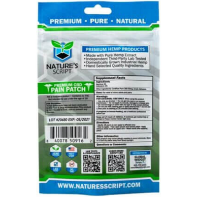Nature's Script Premium CBD Pain Patch - 2 Parches - Puro Estado Fisico