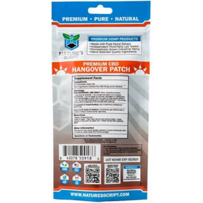 Nature's Script Premium CBD Hangover Patch - 4 Parches - Puro Estado Fisico