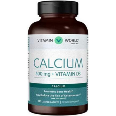 Vitamin World Calcium 600mg + Vitamin D3 - 250 Comprimidos Recubiertos - Puro Estado Fisico