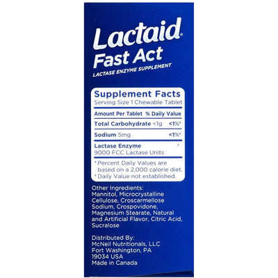 Lactaid Fast Act Vanilla 32 Chewable Tablets