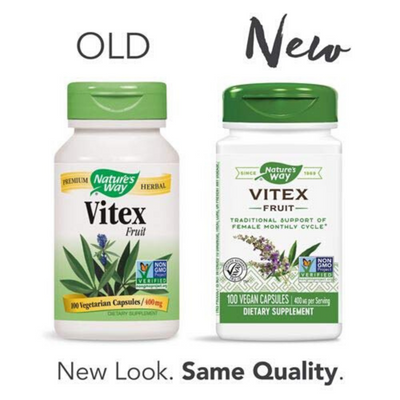 Natures Way Vitex (Chaste Tree) 400 mg - Cápsulas Veganas - Puro Estado Fisico