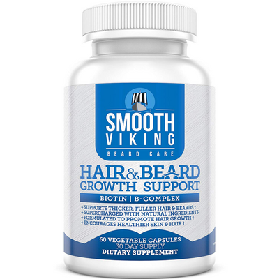 Smooth Viking Hair & Beard Growth Support - 60 Cápsulas De Origen Vegetales - Puro Estado Fisico