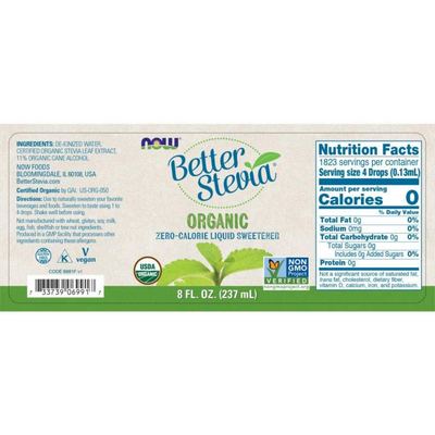 NOW Foods Better Stevia Organic Zero Calorie Liquid Sweetener - 237 ml - Puro Estado Fisico