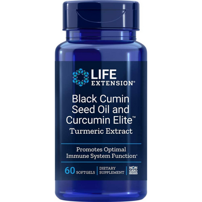 Life Extension Black Cumin Seed Oil and Curcumin Elite - 60 Cápsulas Blandas - Puro Estado Fisico