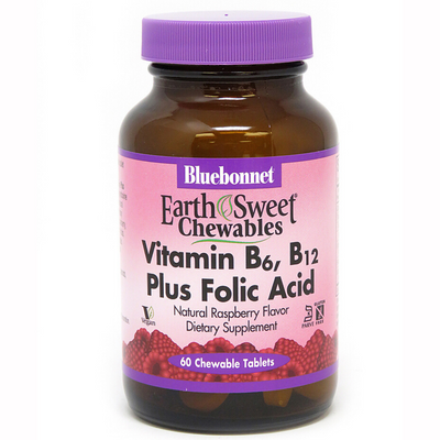 Bluebonnet EarthSweet Chewables Vitamin B6 B12 Plus Folic Acid - 60 Tabletas Masticable - Frambuesa - Puro Estado Fisico