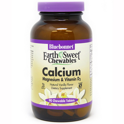 Bluebonnet EarthSweet Chewables Calcium Magnesium & Vitamin D3 - 90 Tabletas Masticable - Puro Estado Fisico