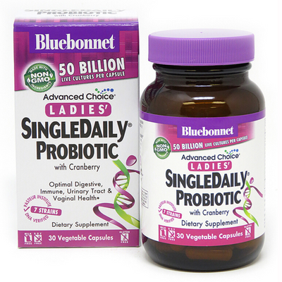 Bluebonnet Advanced Choice Ladies' SingleDaily Probiotic - 50 billion CFU - 30 Cápsulas De Origen Vegetal - Puro Estado Fisico