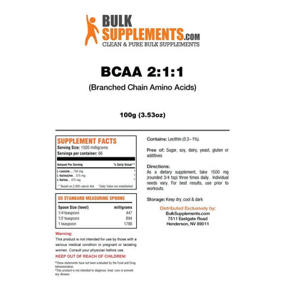 BulkSupplements BCAA 2:1:1 Branched Chain Amino Acids Powder