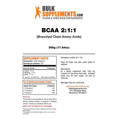 BulkSupplements BCAA 2:1:1 (Branched Chain Amino Acids) Powder