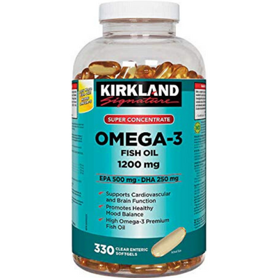 Kirkland Signature Super Concentrate Omega-3 Fish Oil 1200mg - 330 Cápsulas Blandas Claras - Puro Estado Fisico