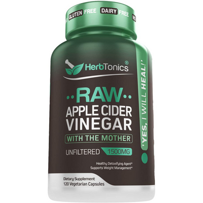 Herbtonics Raw Apple Cider Vinegar 1500 mg - 120 Cápsulas Vegetarianas - Puro Estado Fisico