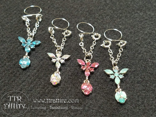 Brilliant Butterflies Non Piercing Adjustable Nipple Ring - Pink, Blue, Green, Diamond