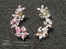 Beautiful Butterfly Ear Cuffs - Silver - Diamond, Pink