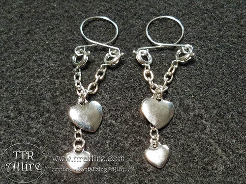 Double Dangle Hearts Non Piercing Adjustable Nipple Ring