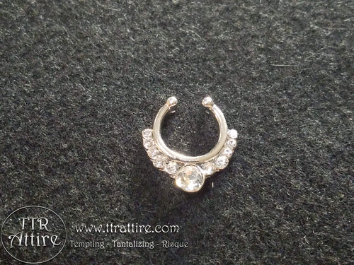 Diamond Princess Tiara Non Piercing Nose Ring Shield - Diamond