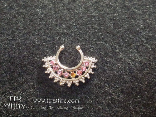 Crystal Tiara Non Piercing Nose Ring Shield - Pink, Diamond