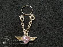 Gilded Heavenly Wings Non Piercing Adjustable Nipple Ring - Blue, Pink, Diamond