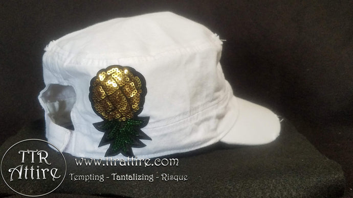 Upside Down Pineapple Watch Cap - Black White