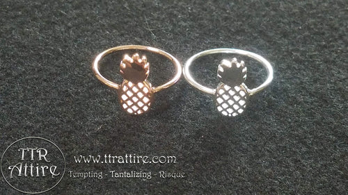 Upside Down Pineapple Ring - Silver and Rose Gold