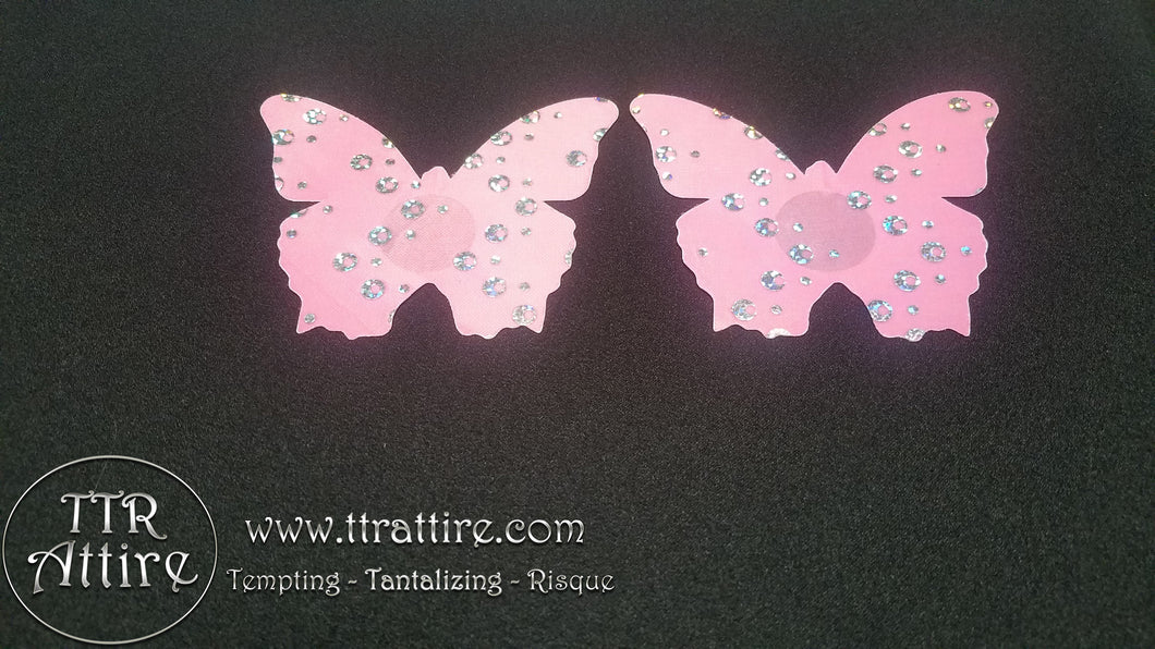 Pink Holographic Butterfly Pasties