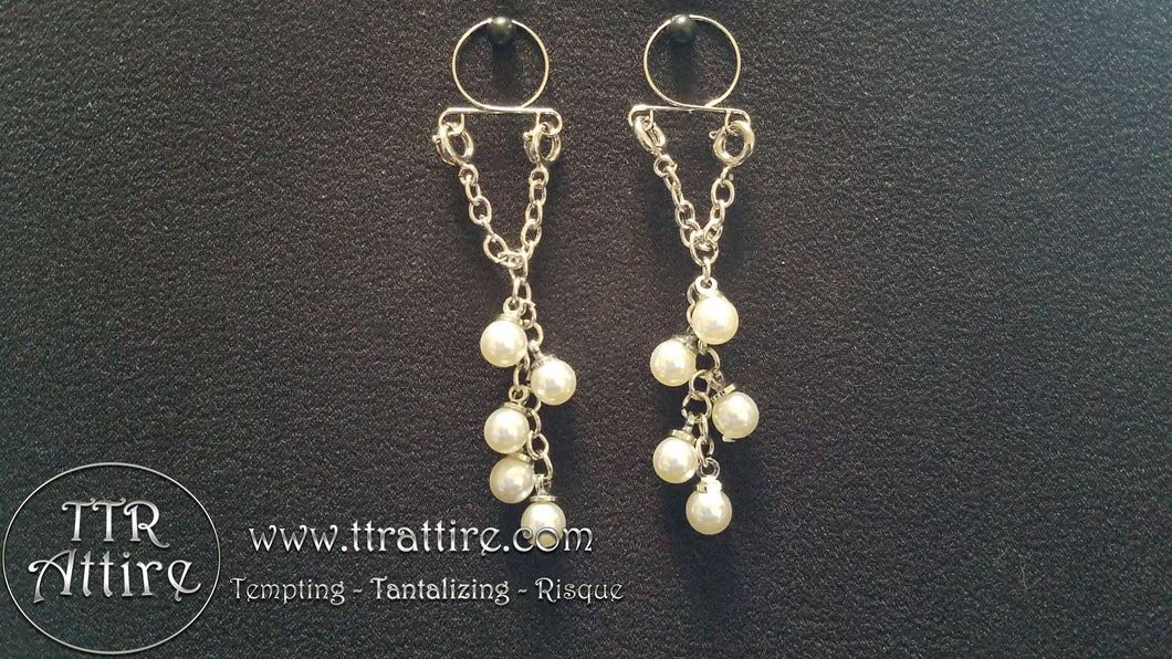 Pearl Dangles Non Piercing Adjustable Nipple Ring